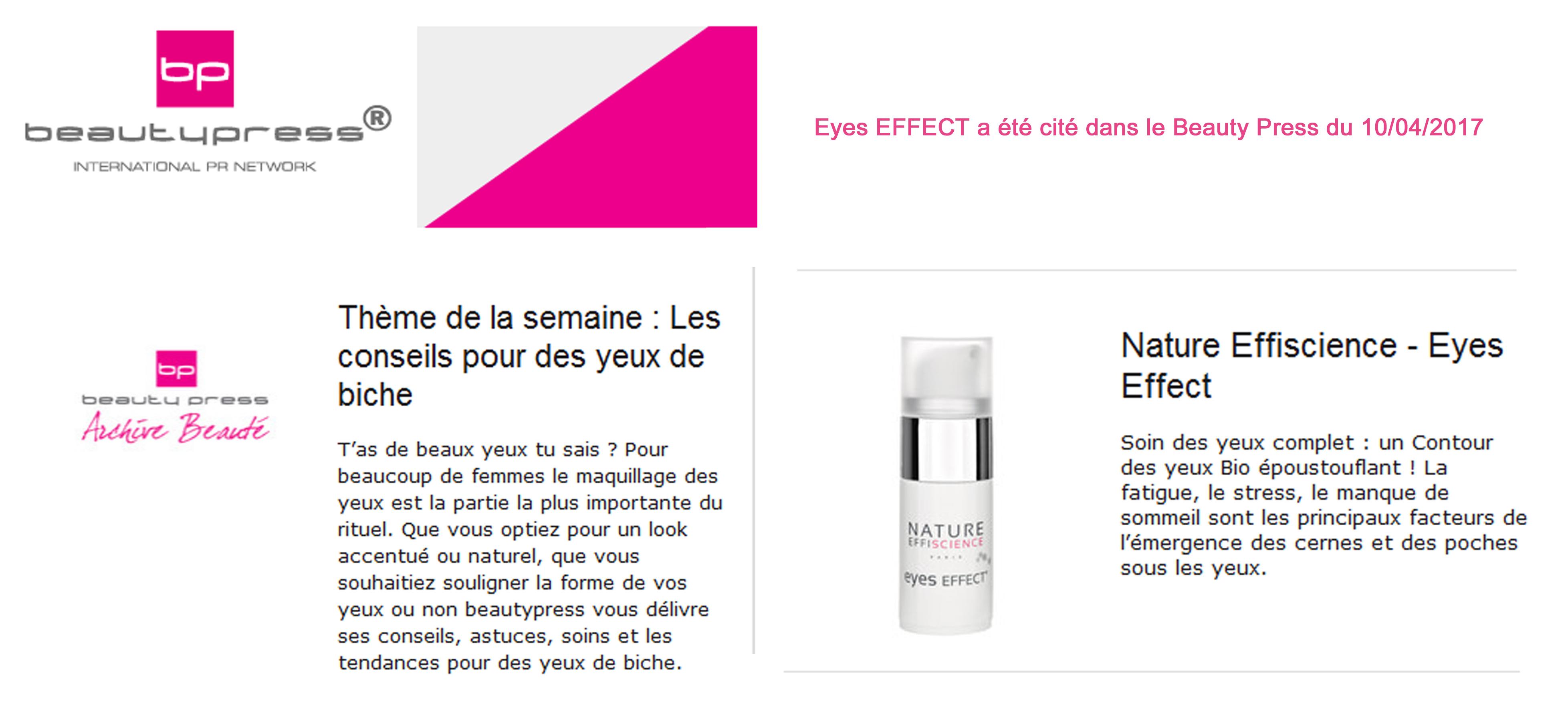 Eyes Nature Effiscience dans Beauty Press